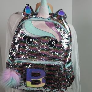 Justice Girls unicorn backpack Initial B new